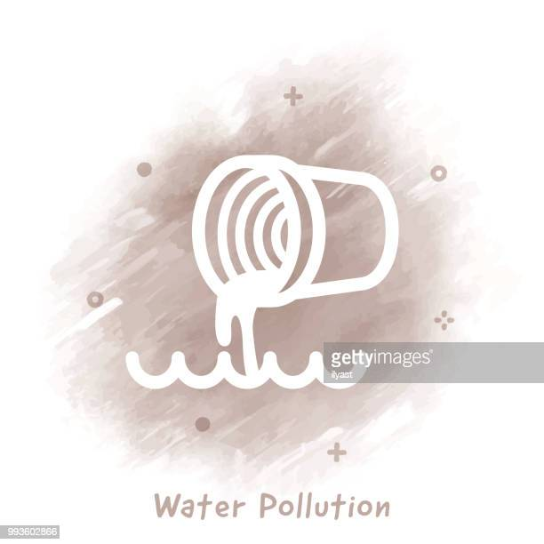 water pollution line icon watercolor background - water pollution stock illustrations, clip art, cartoons, & icons