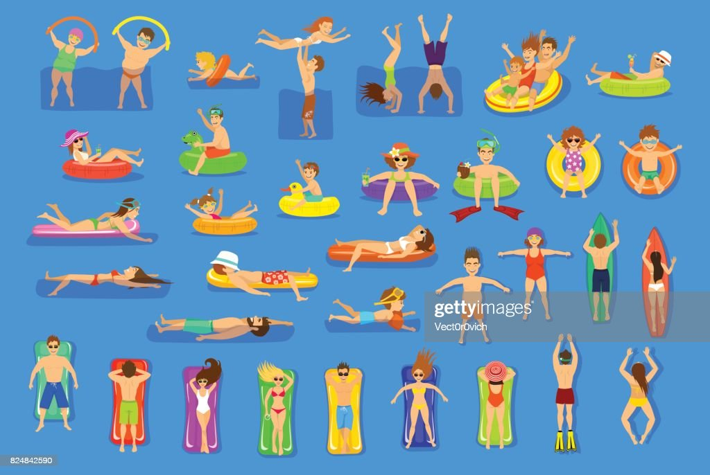 Water pool sea fun activities vector illustration set.