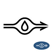 Water pump sign with flow direction arrows