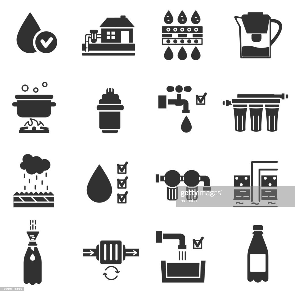 Water purification, monochrome icons set.