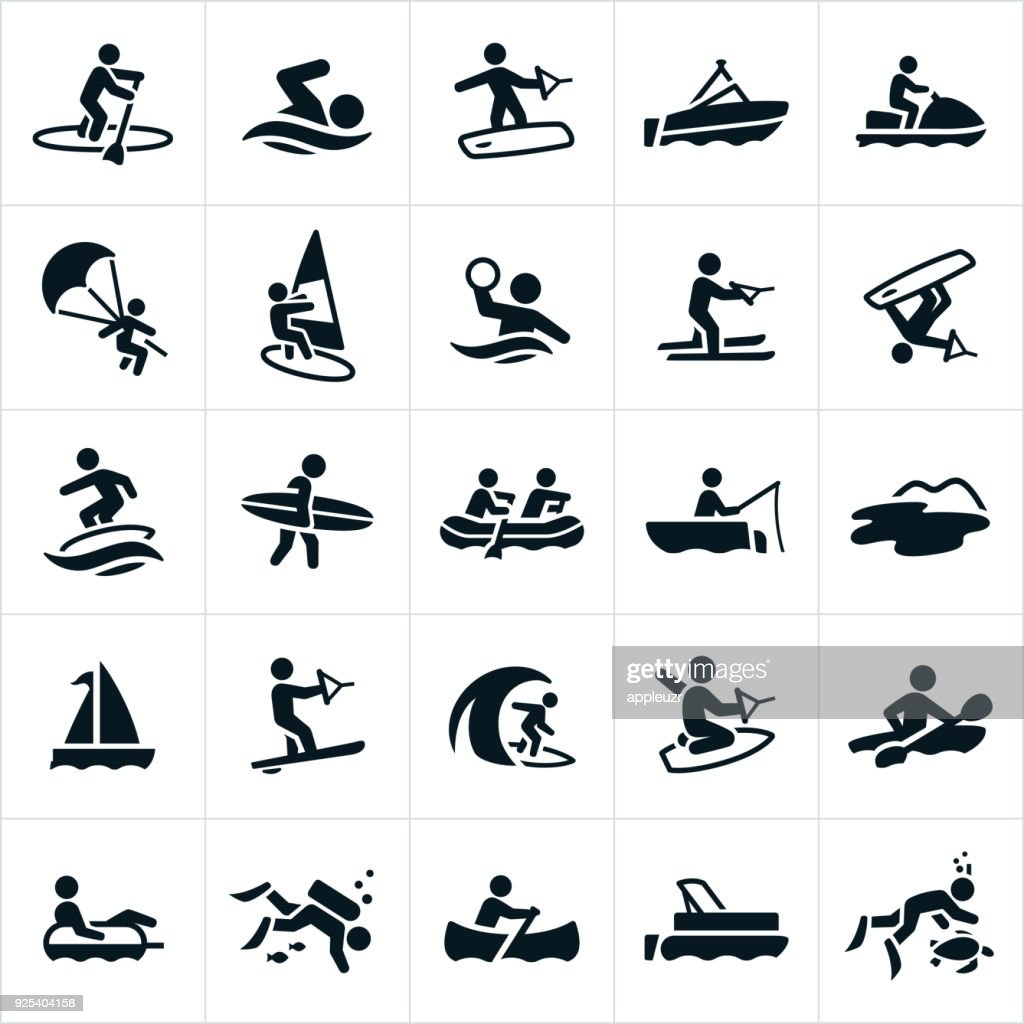 Water Recreation Icons : Stock Illustration