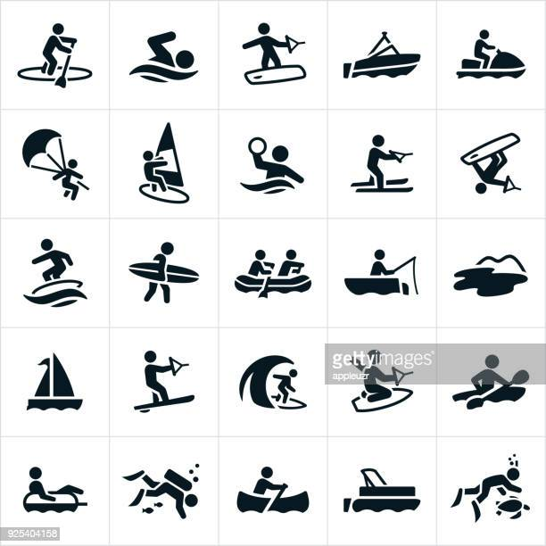 water recreation icons - leisure activity stock illustrations