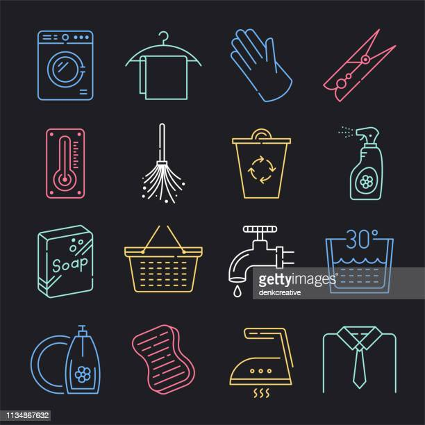 ilustrações de stock, clip art, desenhos animados e ícones de water sanitation & hygiene neon style vector icon set - gari
