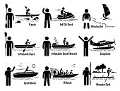 Water Sea Recreational Vehicles and People Set Illustrations