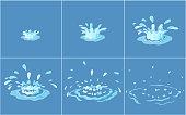 Water splashes vector frame set for game animation.