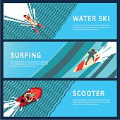 Water Sport Horizontal Banner. Flat style, top view.