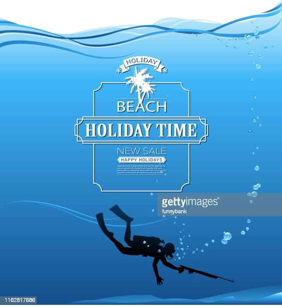 water sport sign - scuba diving stock illustrations
