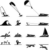 water sports and Ocean Vacation black & white icon set