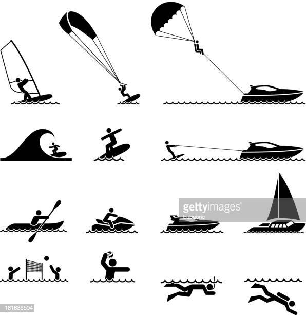 water sports and ocean vacation black & white icon set - snorkel stock illustrations