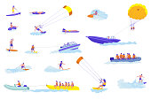 Water sports cartoon vector illustrations set