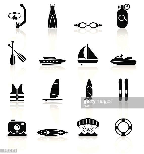 water sports equipment - simple collection - motorboating stock illustrations, clip art, cartoons, & icons
