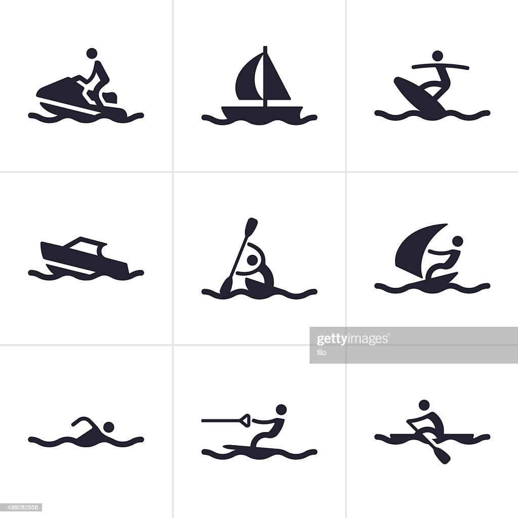 Water Sports Icons And Symbols Vector Art Getty Images