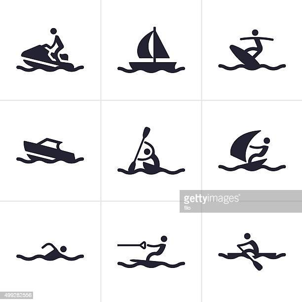 water sports icons and symbols - motorboating stock illustrations, clip art, cartoons, & icons