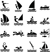 Water Sports Icons - Black Series