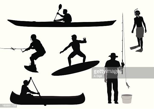 water sports vector silhouette - kayaking stock illustrations