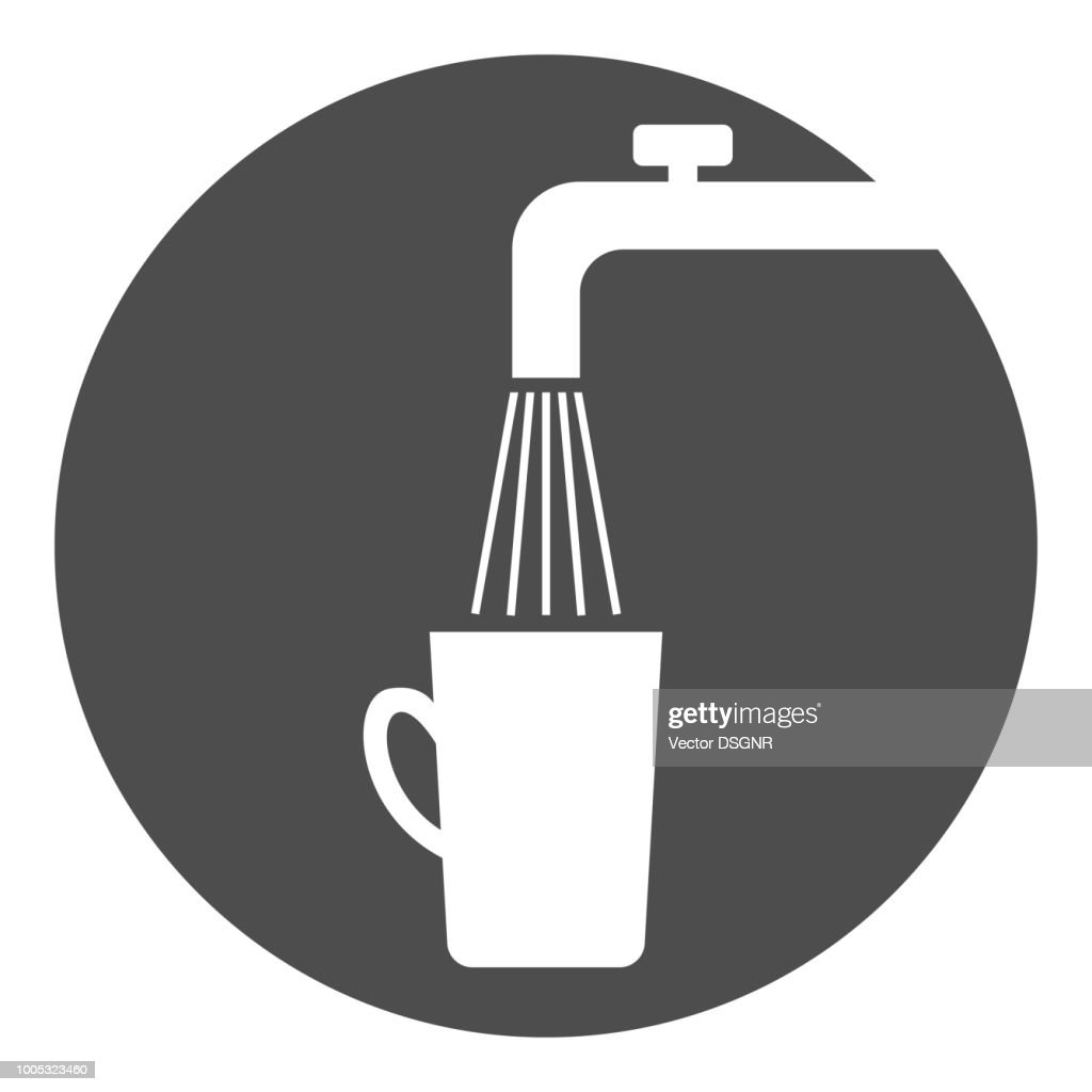 Water tap and cup. Potable water symbol. Vector