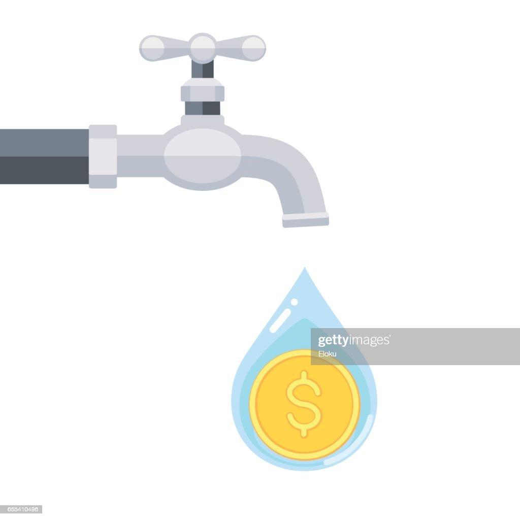 Wasserhahn Mit Münze In Wassertropfen Isoliert Auf Weißem