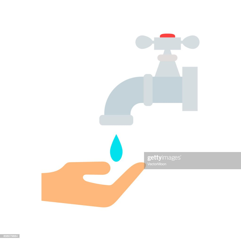 Water tap with drop bathroom ico process savings hygiene clean household washing cleaning beauty vector illustration