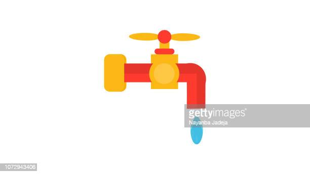 water tap with drop flat style icon - dehydration stock illustrations, clip art, cartoons, & icons