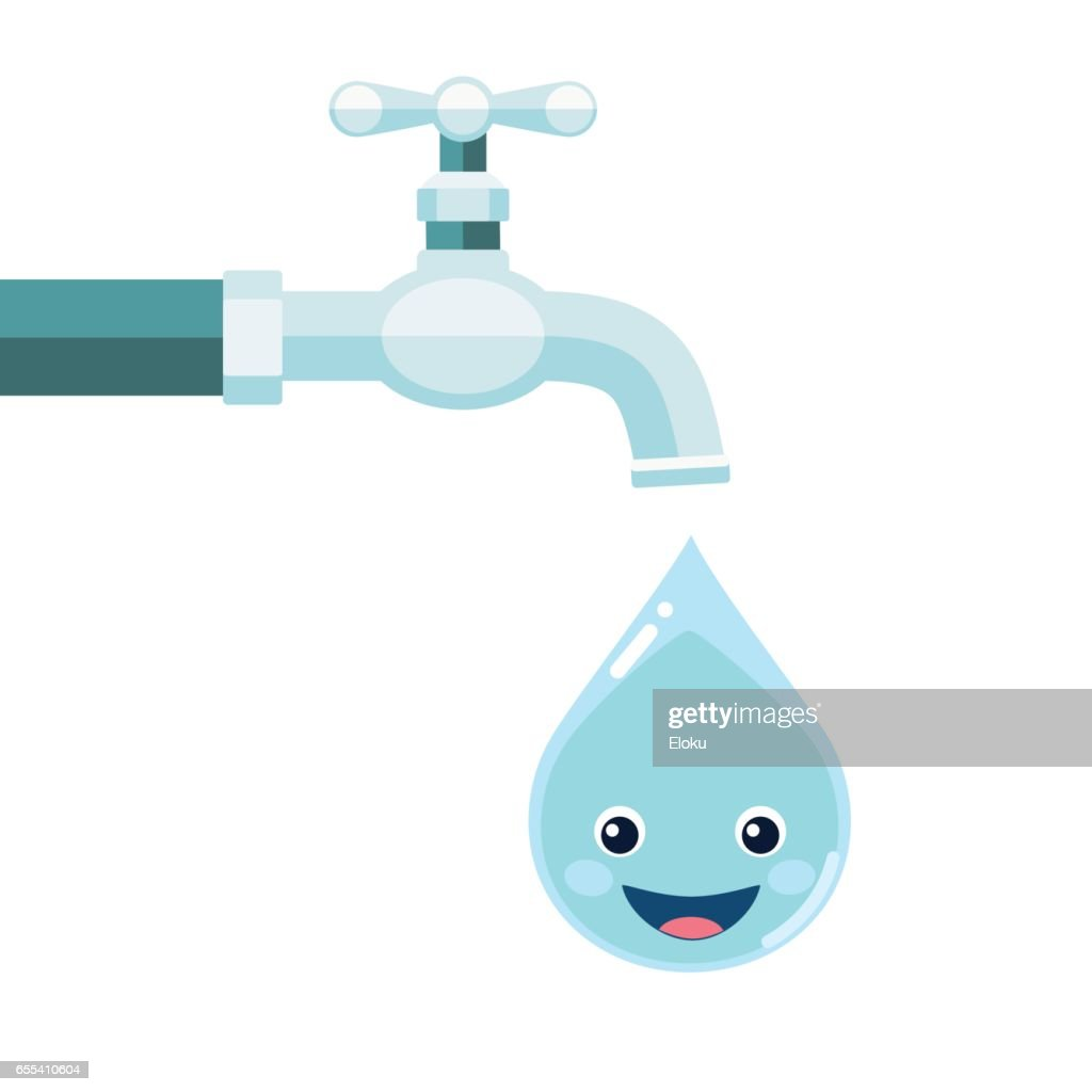 Water tap with smiling water drop isolated on white background
