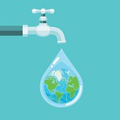 Water tap with the Earth globe inside water drop on blue background