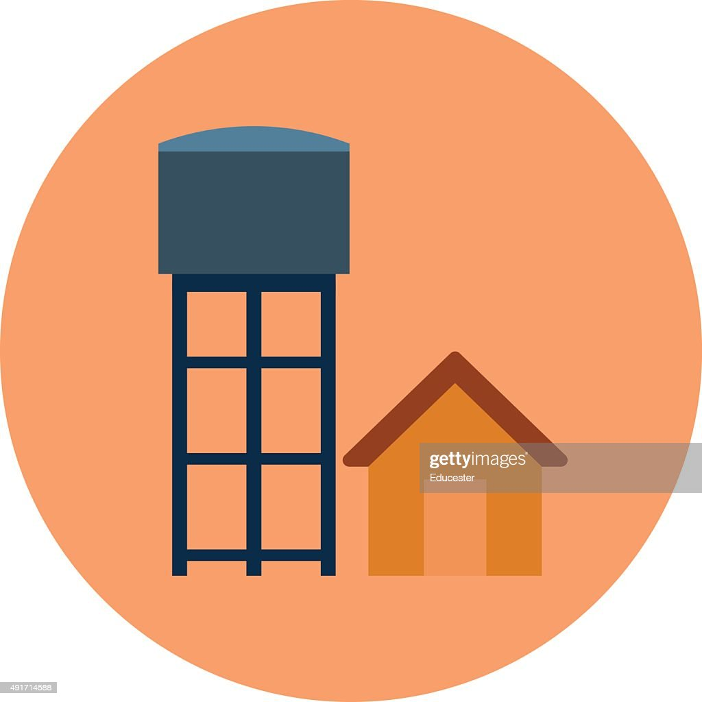 Water Tower Colored Vector Illustration