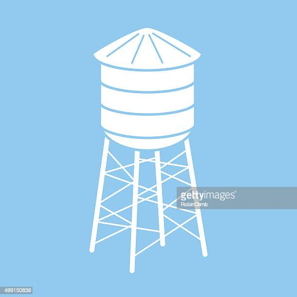 water tower icon - water tower storage tank stock illustrations