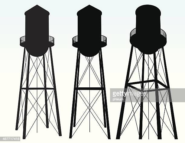 water tower silhouette - water tower storage tank stock illustrations