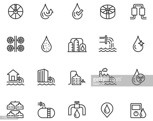 water treatment icon set - purity stock illustrations