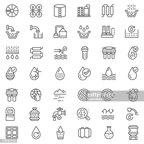 water treatment icon set - sewer stock illustrations