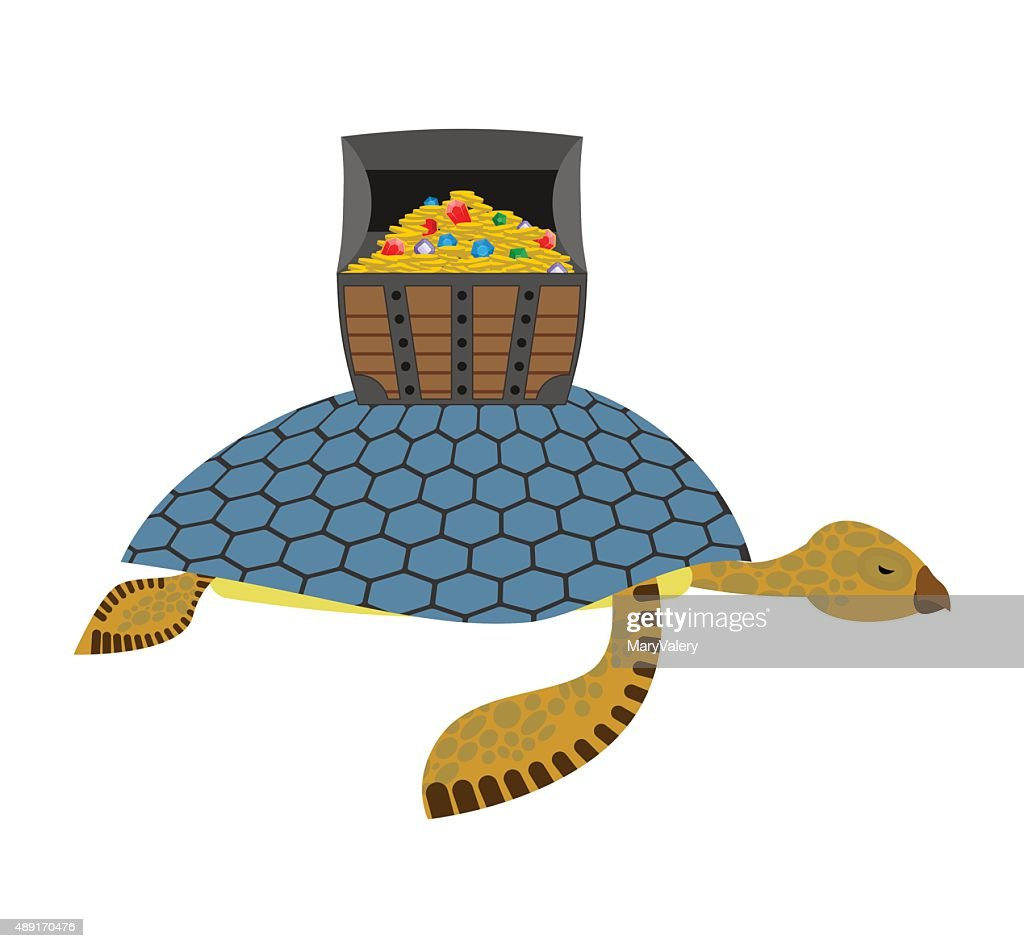 Water Turtle and treasure chest. Marine reptiles are lucky pirat