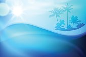 Water wave and island with palm trees