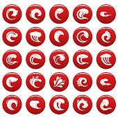 Water wave icons set vetor red