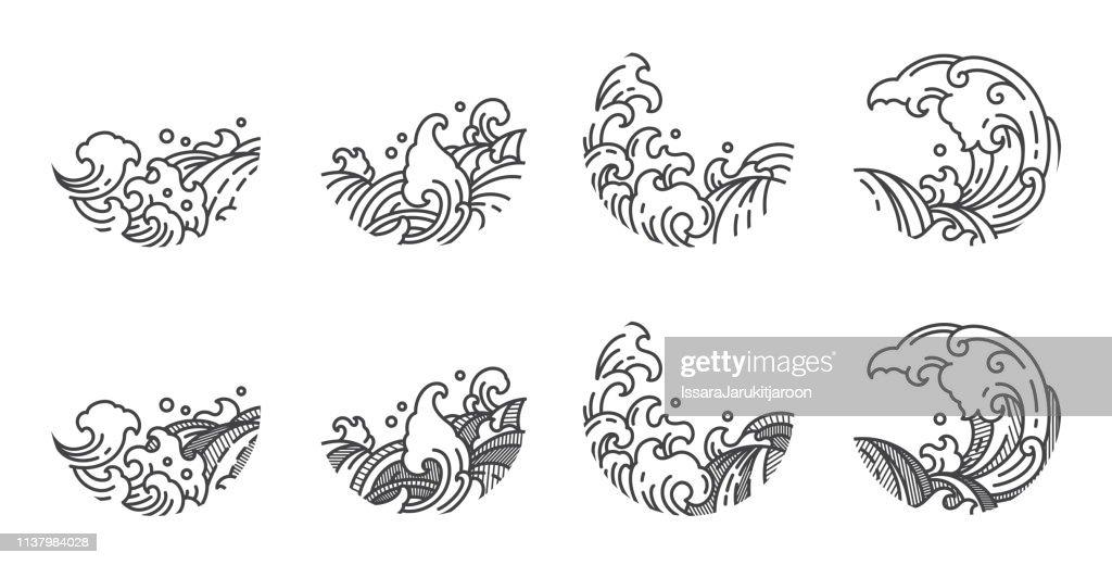 Water wave line logo template.Japanese.Thai.