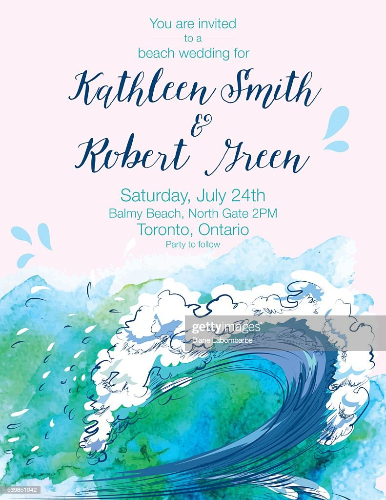 Water wave watercolor wedding invitation with text vector art water wave watercolor wedding invitation with text vector art stopboris Gallery