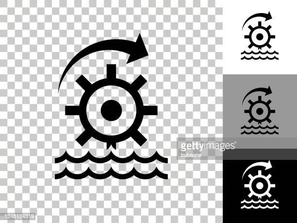 illustrazioni stock, clip art, cartoni animati e icone di tendenza di icona ruota dell'acqua su sfondo trasparente scacchiera - mulino ad acqua