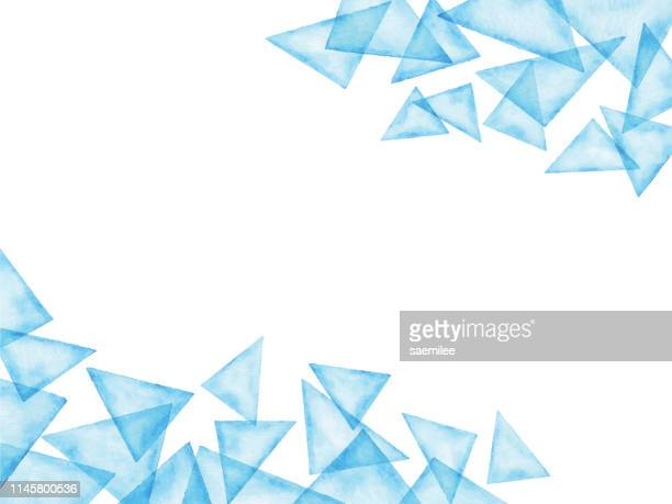illustrazioni stock, clip art, cartoni animati e icone di tendenza di watercolor abstract background with blue triangles - clip art