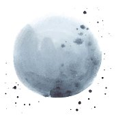 Watercolor abstract grey stain made in vector