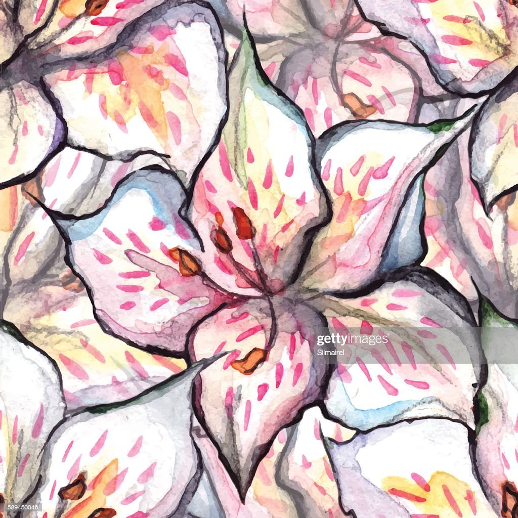 Watercolor alstroemeria floral seamless pattern textile background vector