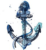Watercolor and ink illustration of an anchor