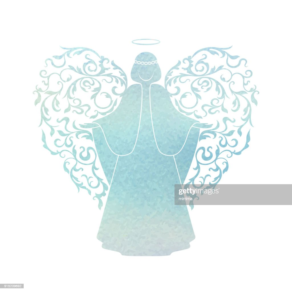 Watercolor Angel with floral wings and Nimbus