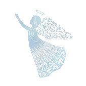 Watercolor angel with ornamental wings