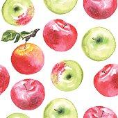 Watercolor apples pattern