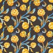 Watercolor art nouveau artichoke pattern