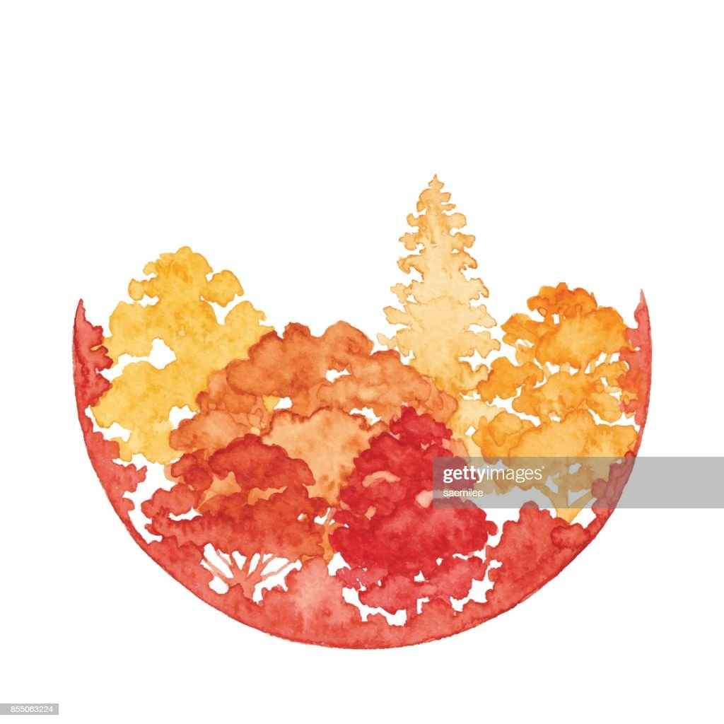 Watercolor Autumn Forest With Circle Frame : Vector Art