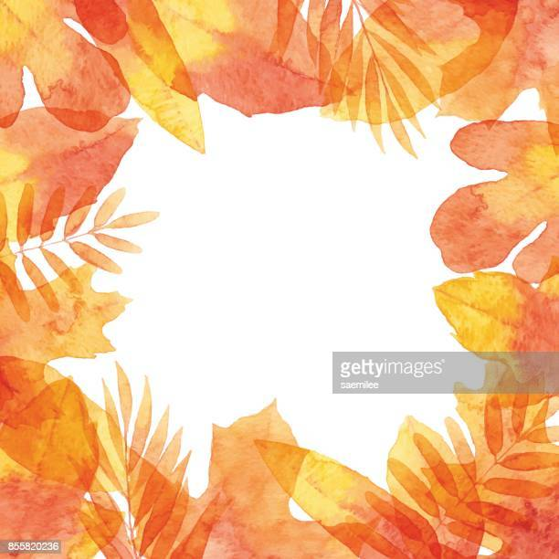 watercolor autumn leaves frame - falling stock illustrations