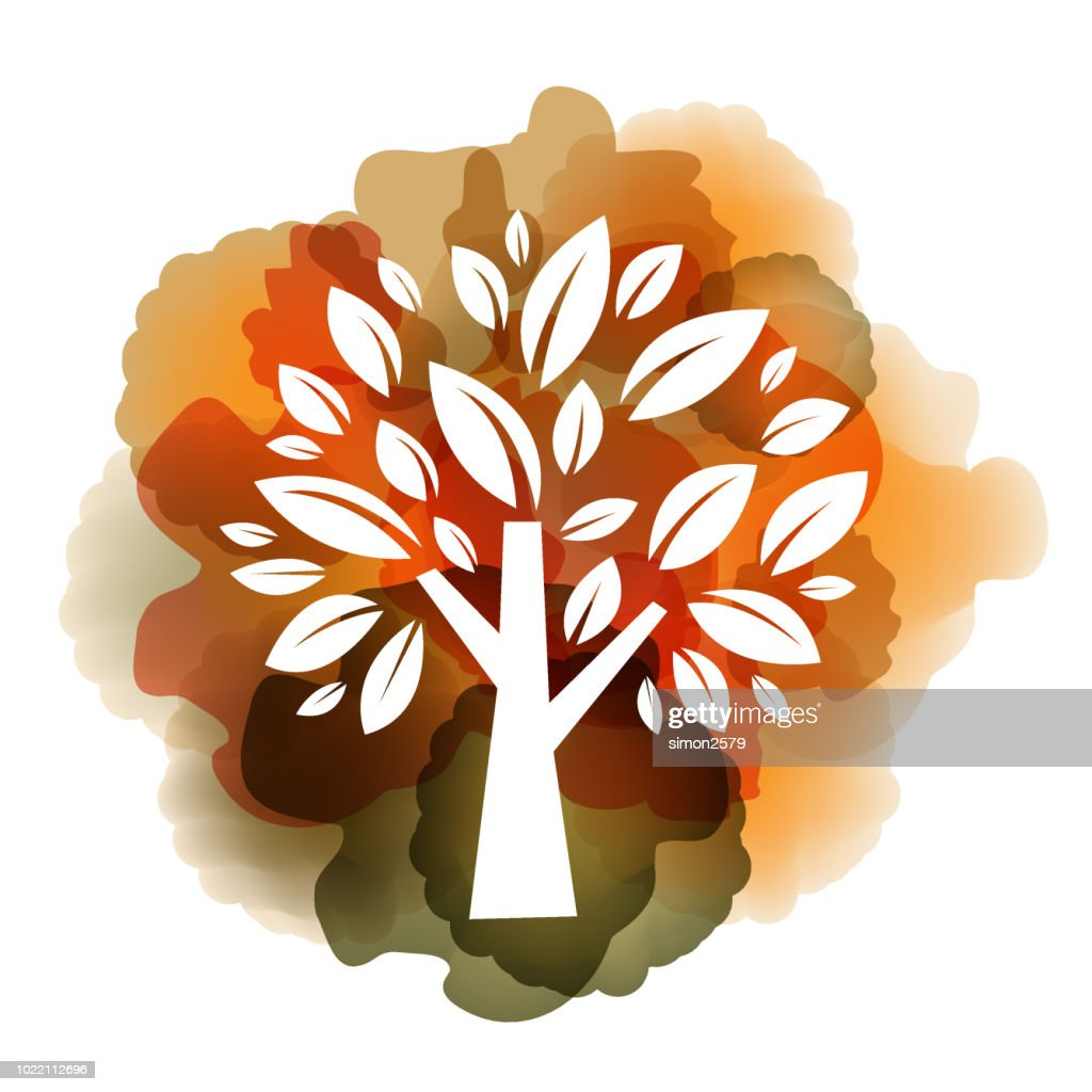 Watercolor autumn tree with yellow and orange color background : Stock Illustration