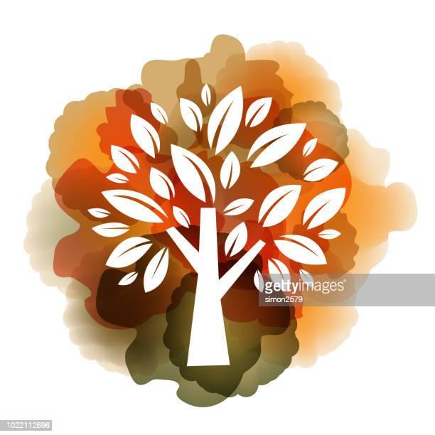 illustrations, cliparts, dessins animés et icônes de aquarelle arbre automne avec fond de couleur jaune et orange - questions environnementales
