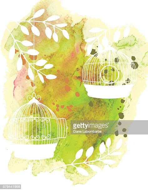 watercolor background texture with white plant silhouettes - birdcage stock illustrations, clip art, cartoons, & icons