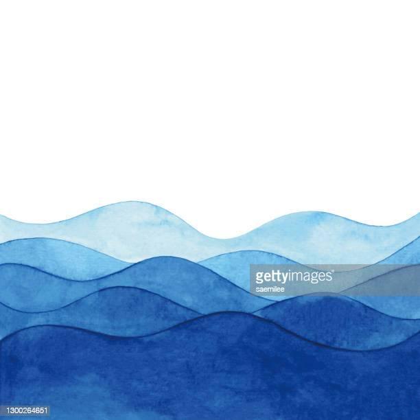 illustrazioni stock, clip art, cartoni animati e icone di tendenza di sfondo acquerello con onde astratte blu - profondo